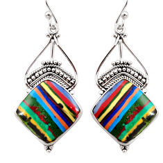14.72cts natural multi color rainbow calsilica 925 silver dangle earrings r30281