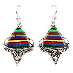 12.58cts natural multi color rainbow calsilica 925 silver dangle earrings r30282