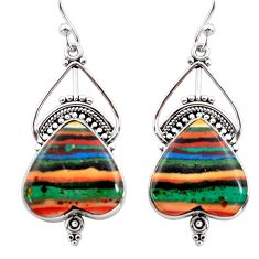14.72cts natural multi color rainbow calsilica 925 silver dangle earrings r30288