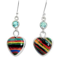 Clearance Sale- 16.20cts natural multi color rainbow calsilica 925 silver heart earrings d39513