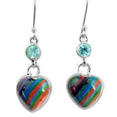 15.08cts natural multi color rainbow calsilica 925 silver heart earrings d39514