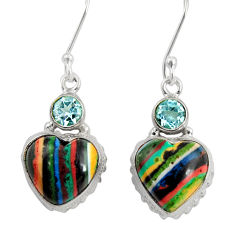 Clearance Sale- 12.71cts natural multi color rainbow calsilica 925 silver heart earrings d39518