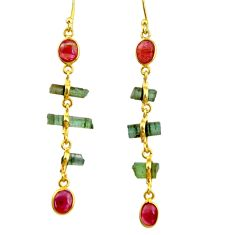 10.09cts natural multi color tourmaline 925 silver 14k gold earrings r33301