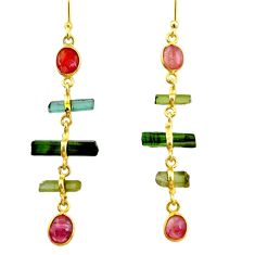 9.45cts natural multi color tourmaline 925 silver 14k gold earrings r33303