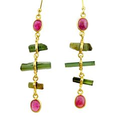 10.09cts natural multi color tourmaline 925 silver 14k gold earrings r33305