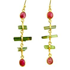 10.64cts natural multi color tourmaline 925 silver 14k gold earrings r33306