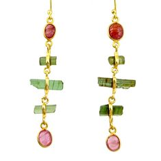 10.09cts natural multi color tourmaline 925 silver 14k gold earrings r33307