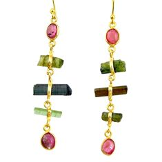 12.38cts natural multi color tourmaline 925 silver 14k gold earrings r33309