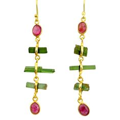 10.64cts natural multi color tourmaline 925 silver 14k gold earrings r33310