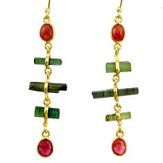 10.64cts natural multi color tourmaline 925 silver 14k gold earrings r33311