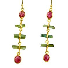 9.40cts natural multi color tourmaline 925 silver 14k gold earrings r33312
