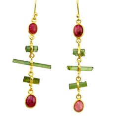 9.48cts natural multi color tourmaline 925 silver 14k gold earrings r33314