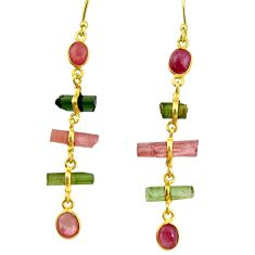 11.28cts natural multi color tourmaline 925 silver 14k gold earrings r33315
