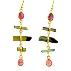 10.56cts natural multi color tourmaline 925 silver 14k gold earrings r33317