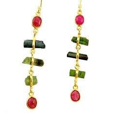 11.77cts natural multi color tourmaline 925 silver 14k gold earrings r33318