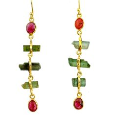 11.80cts natural multi color tourmaline 925 silver 14k gold earrings r33320