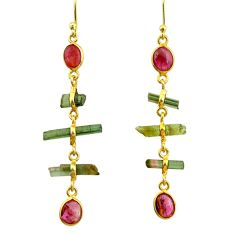9.45cts natural multi color tourmaline 925 silver 14k gold earrings r33326