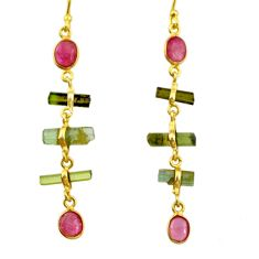 9.77cts natural multi color tourmaline 925 silver 14k gold earrings r33328