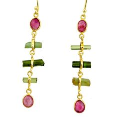 10.11cts natural multi color tourmaline 925 silver 14k gold earrings r33332