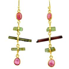 10.28cts natural multi color tourmaline 925 silver 14k gold earrings r33333