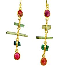 9.72cts natural multi color tourmaline 925 silver 14k gold earrings r33335