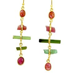 10.28cts natural multi color tourmaline 925 silver 14k gold earrings r33337