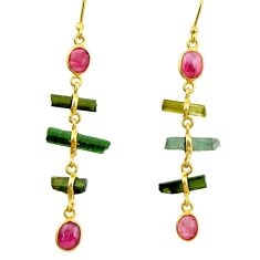 9.16cts natural multi color tourmaline 925 silver 14k gold earrings r33338