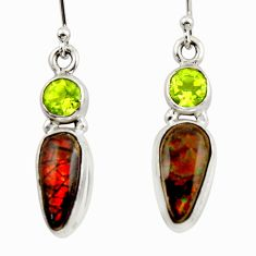 9.59cts natural multicolor ammolite (canadian) 925 silver dangle earrings r42943