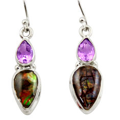9.61cts natural multicolor ammolite (canadian) 925 silver dangle earrings r42951