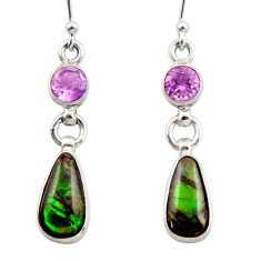 9.44cts natural multicolor ammolite (canadian) 925 silver dangle earrings r42952