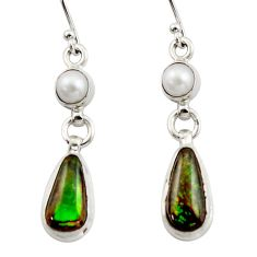 9.76cts natural multicolor ammolite (canadian) 925 silver dangle earrings r42954