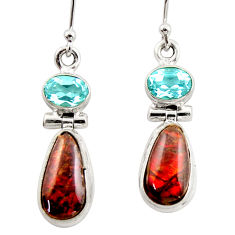 9.77cts natural multicolor ammolite (canadian) 925 silver dangle earrings r42959