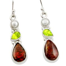 10.70cts natural multicolor ammolite (canadian) 925 silver earrings r42981