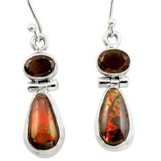 9.82cts natural multicolor ammolite (canadian) 925 silver earrings r42982