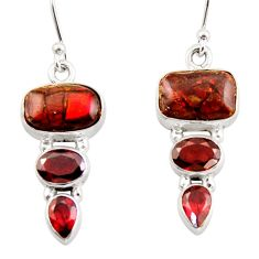 12.58cts natural multicolor ammolite canadian) 925 silver dangle earrings r42948