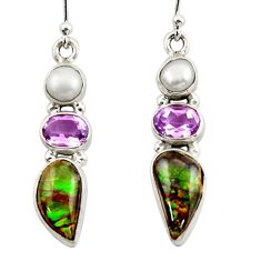 11.97cts natural multicolor ammolite canadian 925 silver dangle earrings r42941