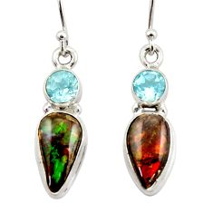 10.25cts natural multicolor ammolite canadian 925 silver dangle earrings r42942