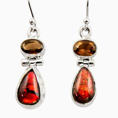 10.32cts natural multicolor ammolite canadian 925 silver dangle earrings r42944