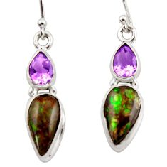 10.28cts natural multicolor ammolite canadian 925 silver dangle earrings r42945