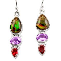 10.72cts natural multicolor ammolite canadian 925 silver dangle earrings r42946