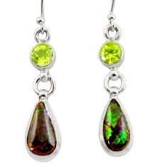 10.74cts natural multicolor ammolite canadian 925 silver dangle earrings r42947