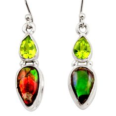 10.47cts natural multicolor ammolite canadian 925 silver dangle earrings r42949