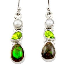 10.10cts natural multicolor ammolite canadian 925 silver dangle earrings r42950