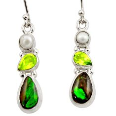 11.09cts natural multicolor ammolite canadian 925 silver dangle earrings r42956