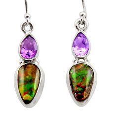 10.25cts natural multicolor ammolite canadian 925 silver dangle earrings r42957