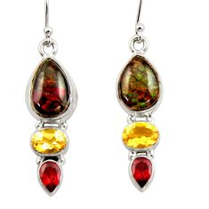 12.96cts natural multicolor ammolite canadian 925 silver dangle earrings r42958