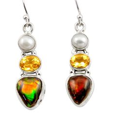 11.57cts natural multicolor ammolite canadian 925 silver dangle earrings r42960