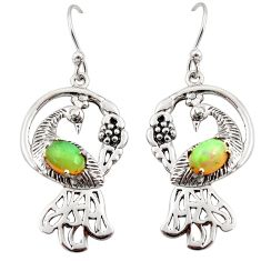 3.52cts natural multicolor ethiopian opal 925 silver dangle earrings d45777