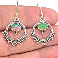 2.44cts natural multicolor ethiopian opal 925 silver dangle earrings t28163
