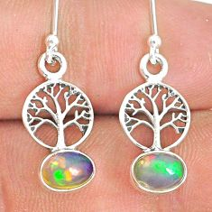 2.70cts natural multicolor ethiopian opal silver tree of life earrings r76271